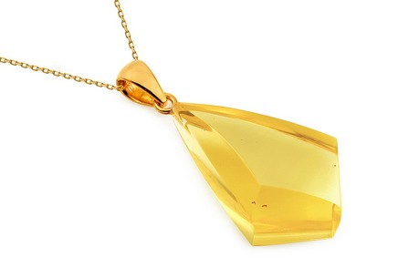 Gold Coated Silver Necklace with Yellow Amber