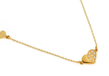 Gold plated 925 sterling silver necklace heart with cubic zirconia