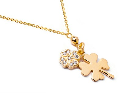 Gold plated Sterling Silver necklace Lucky Four Leaf Clovers