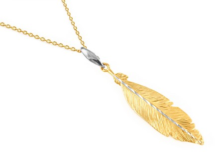 Gold-plated Sterling silver necklace with a feather