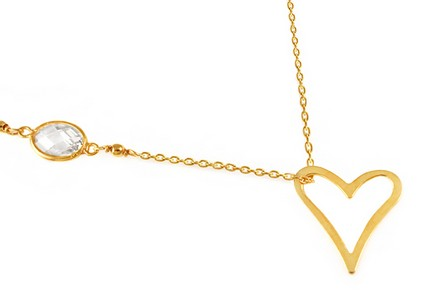 Gold Plated Sterling Silver Necklace Shine with Heart