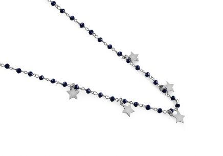 Silver Choker necklace with four-leaf clover and metallic blue stones