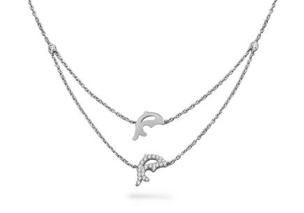 Rhodium plated Silver Necklace Dolphins