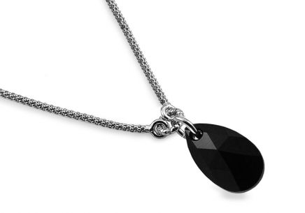 Silver necklace with black drop