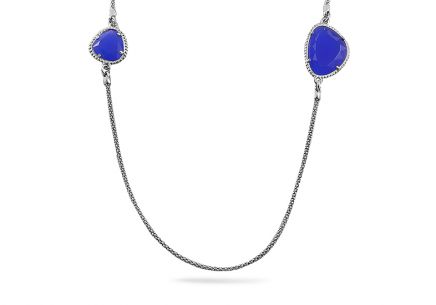 Rhodium plated Sterling Silver necklace decorated with blue stone