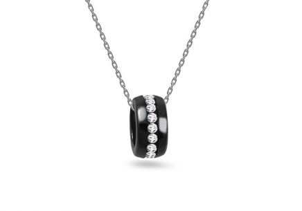 Rhodium plated Silver necklace with ceramic decorated cubic zirconia pendant