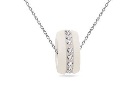 necklace Rhodium plated Silver with glittering white ceramic pendant decorated cubic zirconia