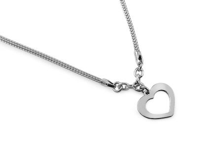 Rhodium plated sterling Silver necklace with heart