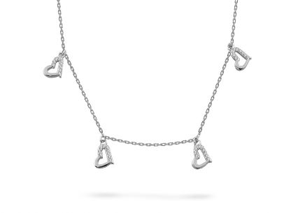 Silver necklace with hearts and zircons