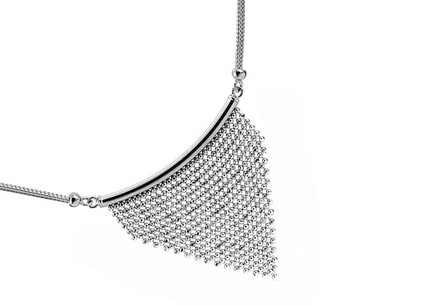 Silver necklace with shimmering beads