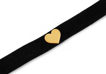 Choker necklace with gold-plated silver heart