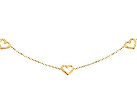 Gold necklace Choker with hearts