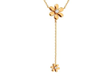 Gold necklace with flowers and zircons