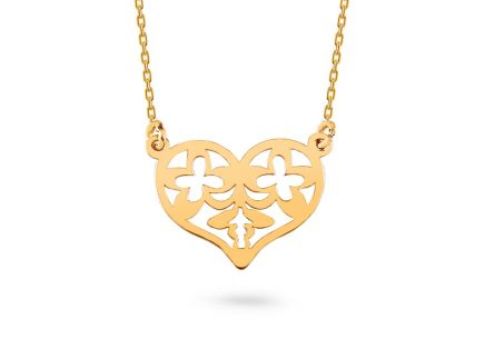 Gold necklace with ornamental heart