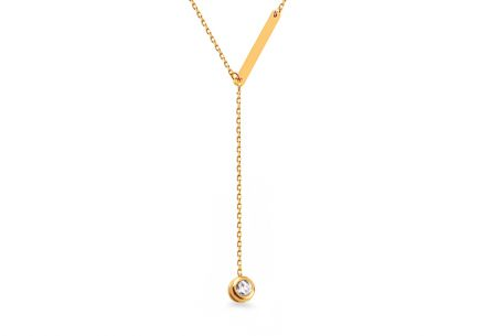 Gold necklace with plate and zircon