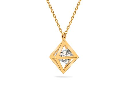 Gold necklace with zircon