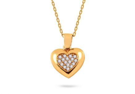 Yellow gold heart necklace with zircons