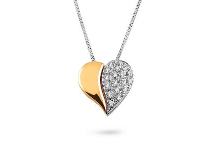 Two-tone gold Heart necklace with zirconia