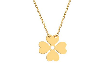 Golden Necklace Celebrity with four leaf clover