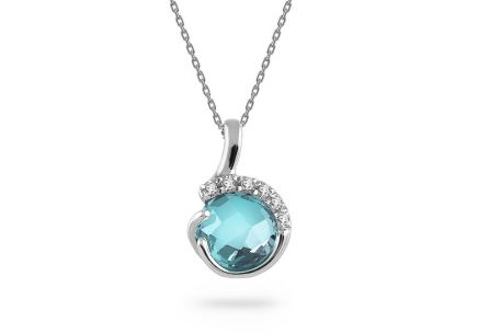 White gold necklace with topaz and zircons