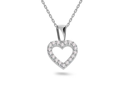 White gold heart necklace with zircons