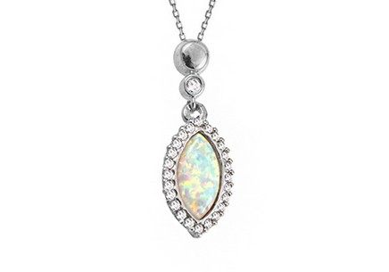White gold opal necklace with zircons