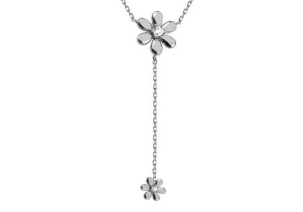 White gold necklace with flowers and zircons