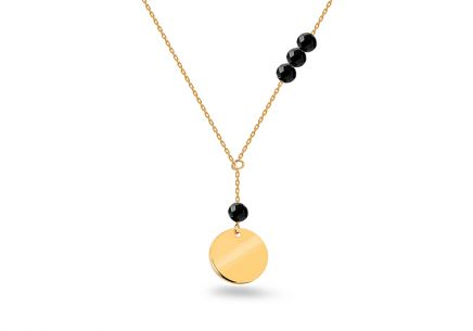 Gold necklace with black stones and round plate