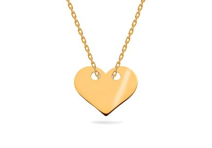 Gold necklace with heart plate Celebrity