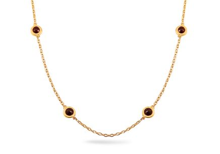 Gold necklace with natural garnet