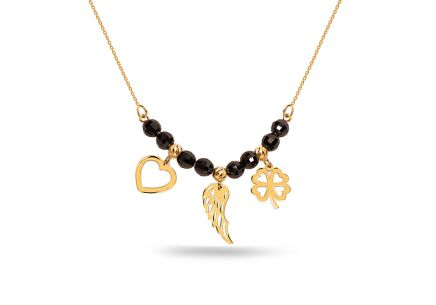 Gold necklace with pendants and black zircons