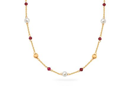 Gold necklace with white pearl and rubies