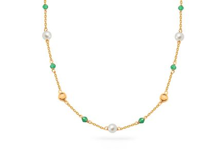 Gold necklace with white pearls and smaragdites