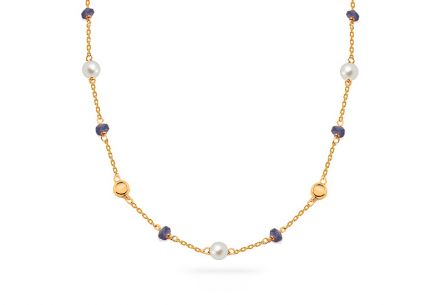 Gold necklace with white pearls and sapphires