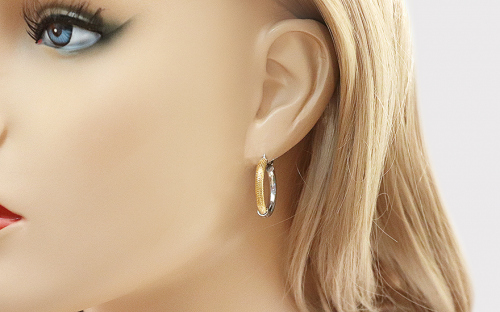 combined Silver Earrings Rhodium and Gold plated - IS247