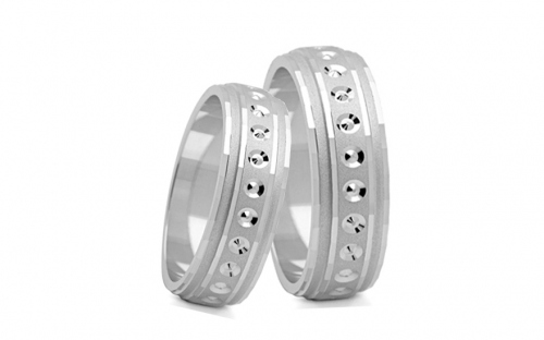 Rhodium plated sterling silver wedding rings - STOB11AG