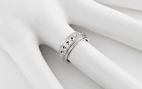 Rhodium plated sterling silver wedding rings - STOB11AG - on a mannequin