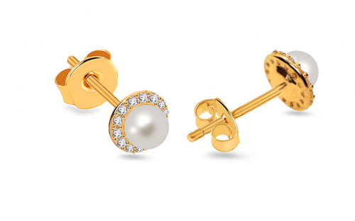 White Pearl earrings decorated with cubic zirconia on Gold-plated 925Sterling Silver - IZ5230N