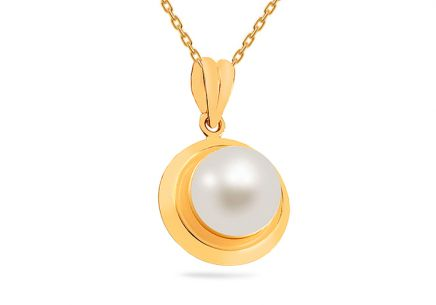 Gold Pendant with White Pearl