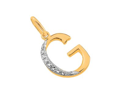 Two-Tone Gold Pendant Letter G