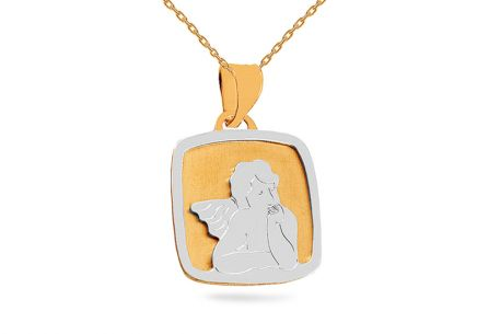 Gold two-tone pendant Angel with matt