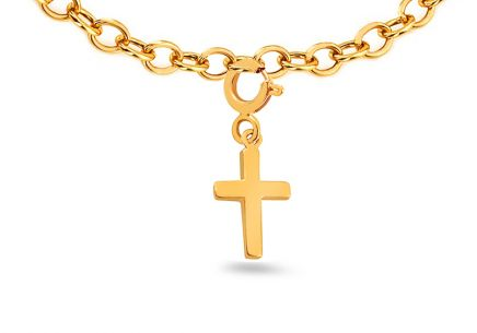 "Golden Pendant for Bracelets or Chains ""Cross"""
