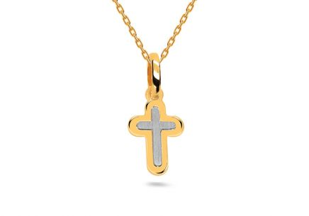 Two tone Gold Cross Pendant