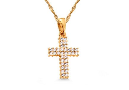 Gold Cubic Zirconia Cross Pendant