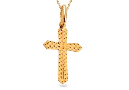 Gold Pendant Cross Engraved