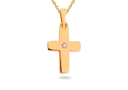 Gold pendant cross with zircon