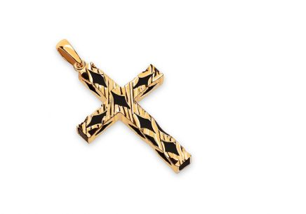 Gold pendant cross with black rubber
