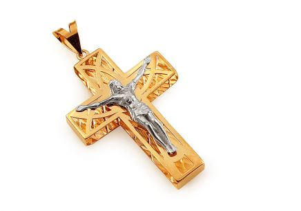 Two tone gold pendant cross with the Torture of Christ