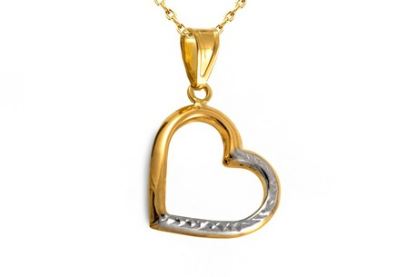 Gold Engraved Heart Pendant
