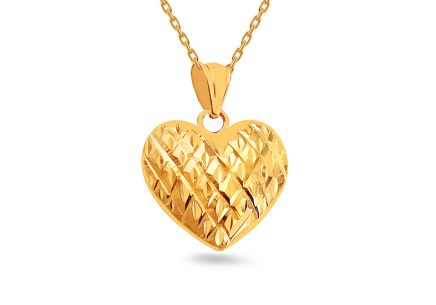 Gold pendant Heart with engraving